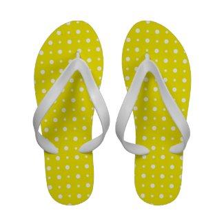 Flipflop Sandals: White on Lemon Yellow Polka Dots