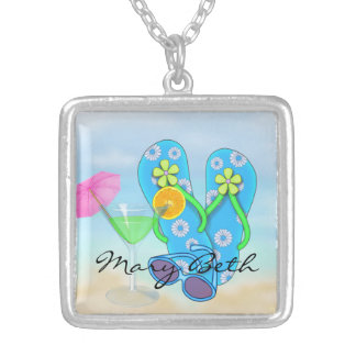 FlipFlops & Martini Vacation Design Necklace
