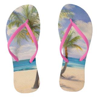 flipflops sandals beach palms ocean