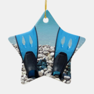 Flippers, Pebbles, and Ocean Christmas Ornament