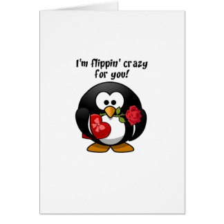 Flipping Crazy For You Valentine's Day Penguin Greeting Card