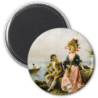 """""""Flirt au Bord de la Mer"""" by Hippolyte Lucas 6 Cm Round Magnet"""