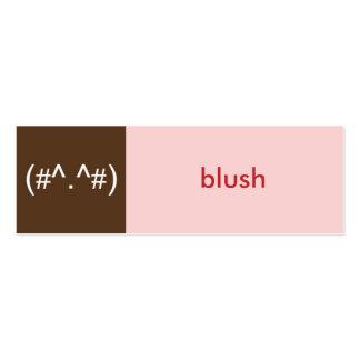 Flirt card pink brown blush emoticon text message business card