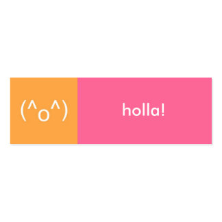 Flirt card pink orange holla emoticon text message pack of skinny business cards
