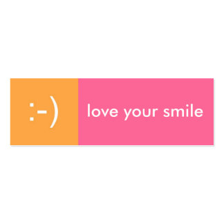 Flirt card pink orange love smile emoticon message pack of skinny business cards