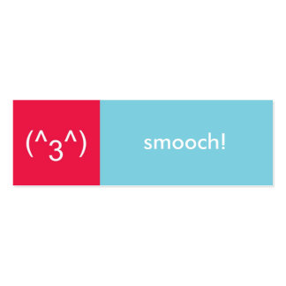 Flirt card red blue smooch emoticon text message pack of skinny business cards