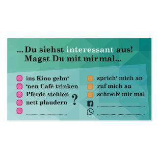 "Flirt map ""interesting…""; with Kontaktfeldern Pack Of Standard Business Cards"