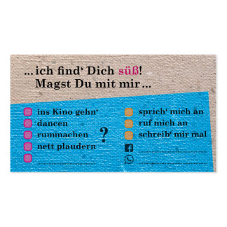 "Flirt map ""you is sweet! ""; with Kontaktfeldern Pack Of Standard Business Cards"