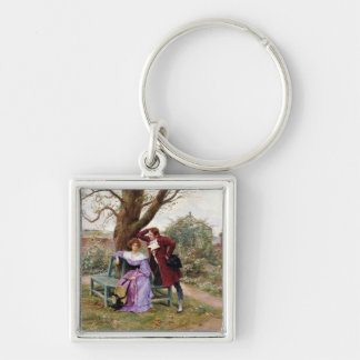Flirtation Silver-Colored Square Key Ring