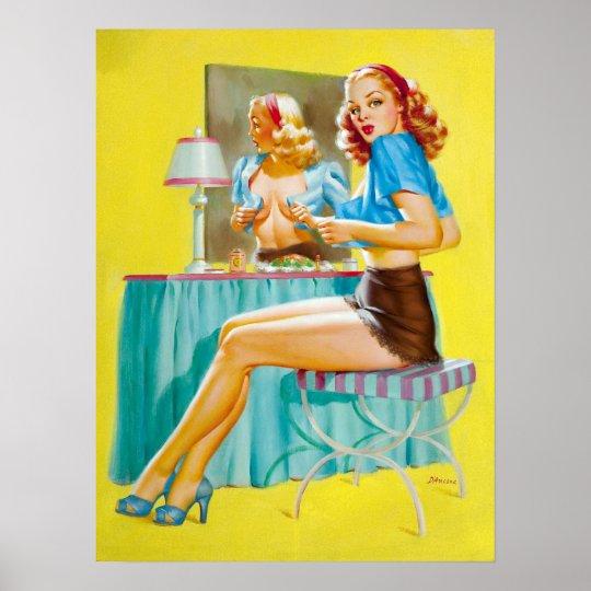 Flirting at Mirror Pin Up Poster