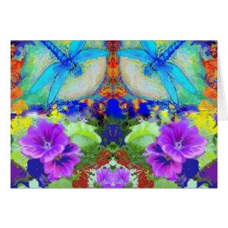 Flirting Dragonflies & Purple Flowers by Sharles Greeting Card
