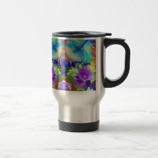 Flirting Dragonflies & Purple Flowers by Sharles Stainless Steel Travel Mug