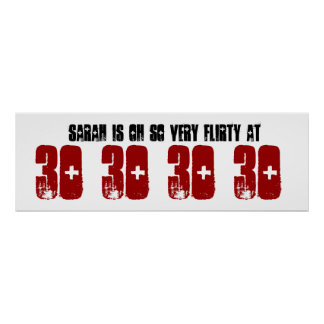 Flirty 30th Birthday Party Banner Grunge Z60F Poster