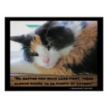 Flirty eyed calico with Abraham Lincon  quote Poster