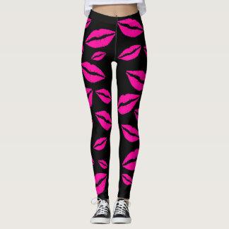 Flirty Sexy Pink Kisses Yoga Jogging Exercise Leggings