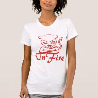 Flirty Wink Devil Woman On Fire T-Shirt