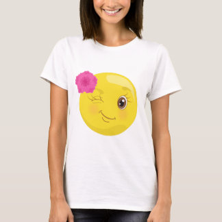 Flirty Wink & Flower Emoji T-shirt