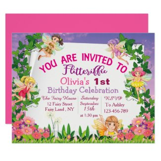 Flitteriffic Pink Magical Fairy Land 1st  Birthday Invitation