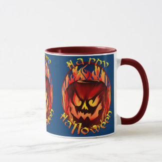 Flmaing Pumkin Oval lettered Mugs