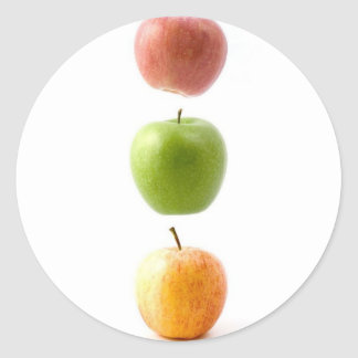 Floating Apples In Traffic Light Colours Round Sticker