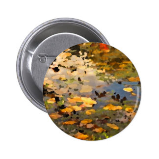 Floating Autumn Leaves Abstract Pinback Button