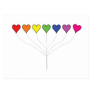 Floating Balloon Hearts Postcard