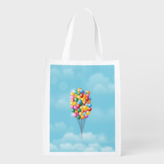 Floating Balloons up and away. Reusable Grocery Bag