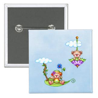 Floating Bears Pixel Art 15 Cm Square Badge