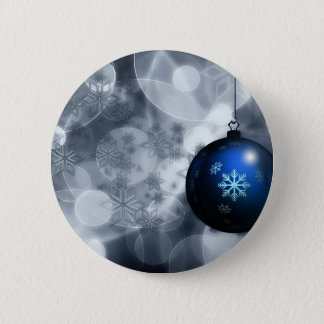 Floating Blue Snowflake Christmas Ornament Advent 6 Cm Round Badge