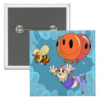 Floating Bumble Elf Balloons 15 Cm Square Badge