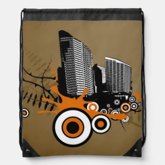 Floating city with plants drawstring bag