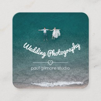 Floating Couple Square Photography Business Card