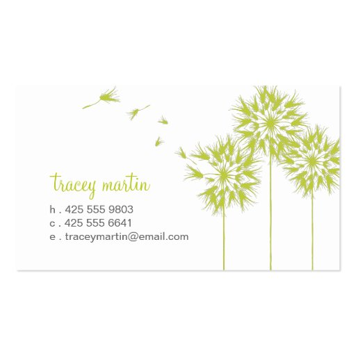 Floating Dandelion Calling Card Business Card Templates