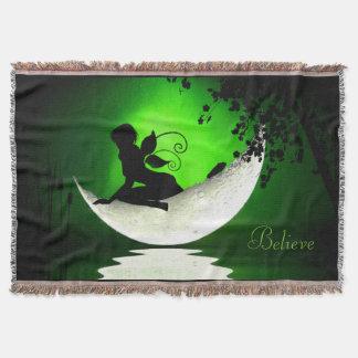 Floating fairy moon throw blanket