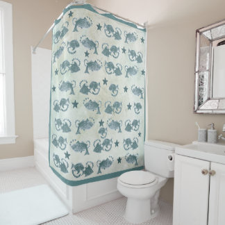 Floating Fish Blue Shower Curtain