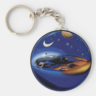 Floating Flat Earth Firmament Sun & Moon Key Chain