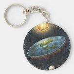 Floating Flat Earth Theory Disc Sun Moon Keychain