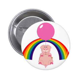 floating flying pig over the rainbow 6 cm round badge