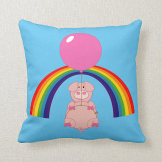 floating flying pig over the rainbow cushion