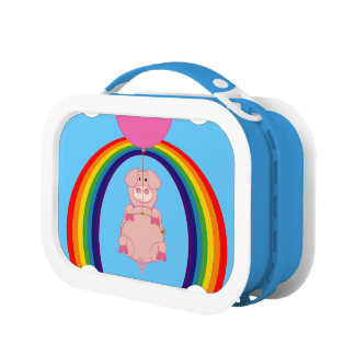 floating flying pig over the rainbow lunch box