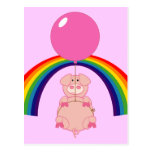 floating flying pig over the rainbow post cards