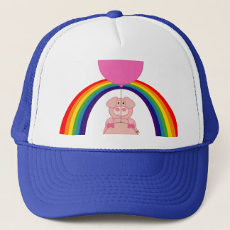 floating flying pig over the rainbow trucker hat