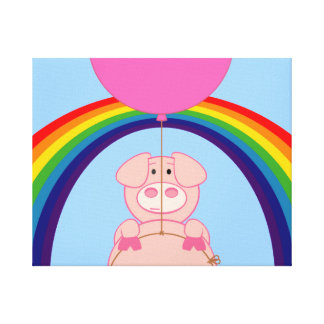 Floating Fying Pig Over the Rainbow Canvas Print