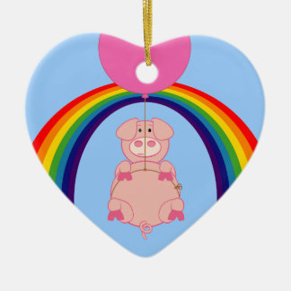 Floating Fying Pig Over the Rainbow Ceramic Heart Decoration