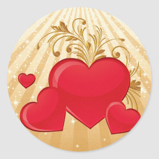 Floating Hearts Classic Round Sticker