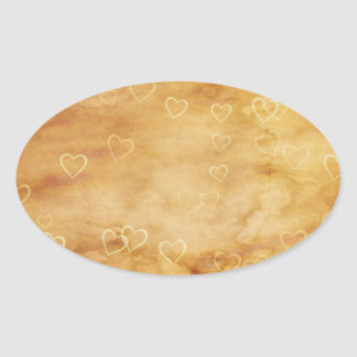Floating Hearts on Antiqued Background Oval Sticker