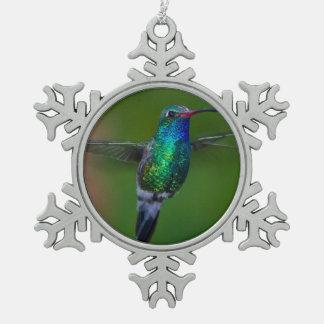 Floating Hummingbird Snowflake Pewter Christmas Ornament