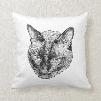 Floating Kitty Head Throw Pillow