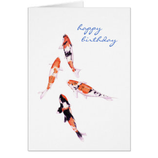 Floating Koi Birthday Card