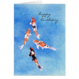 Floating Koi blue Birthday Card